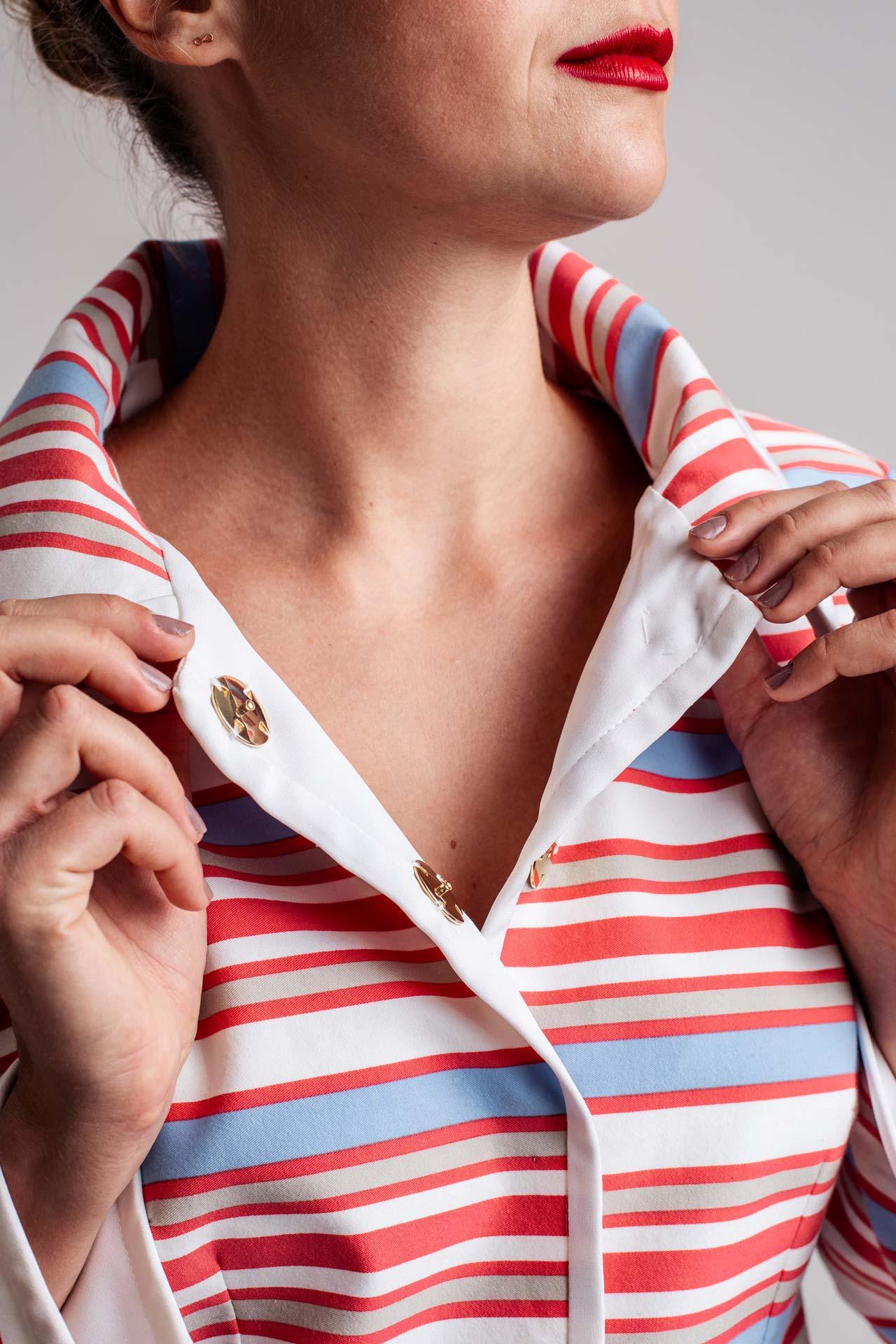 Gestreifte Haute Couture Bluse